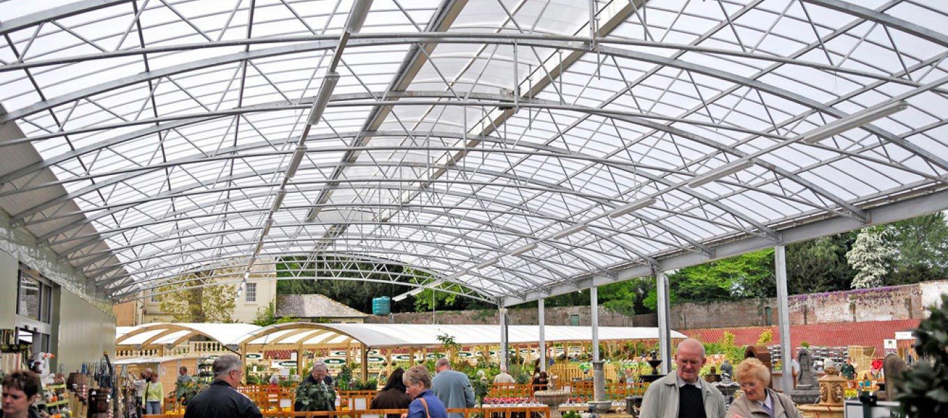 An example of a hot-dip galvanised canopy roof from Fordingbridge