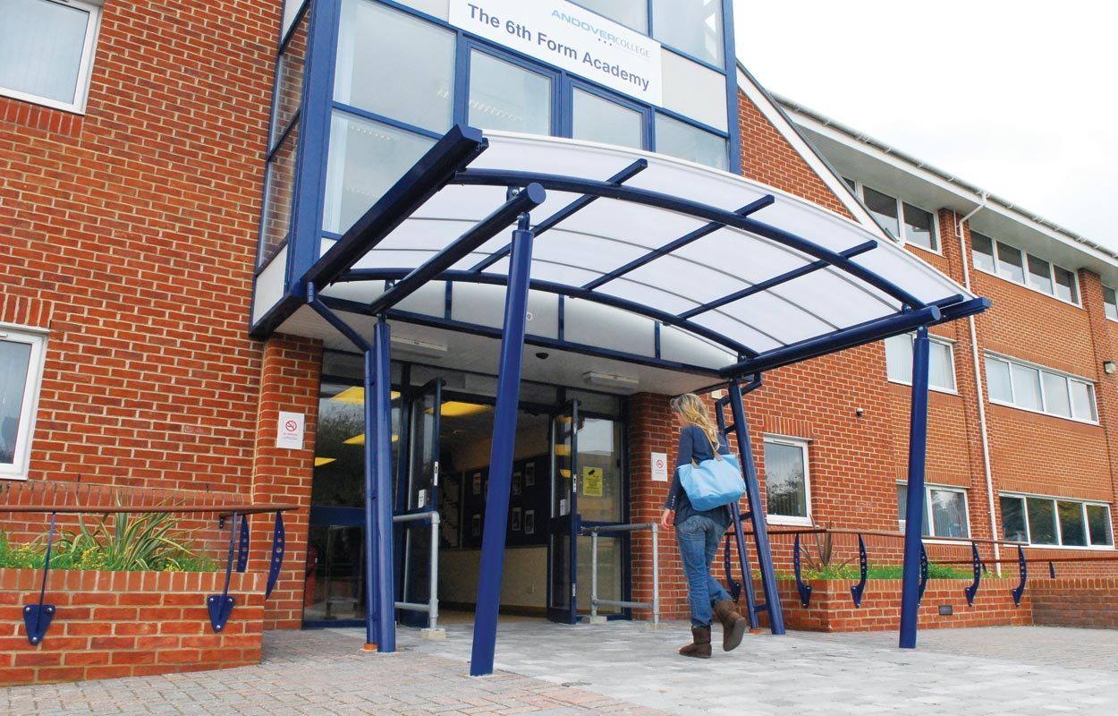 Andover College steel entrance canopy Fordingbridge