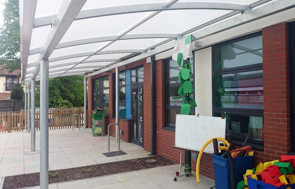 Banister Primary School steel canopy by Fordingbridge