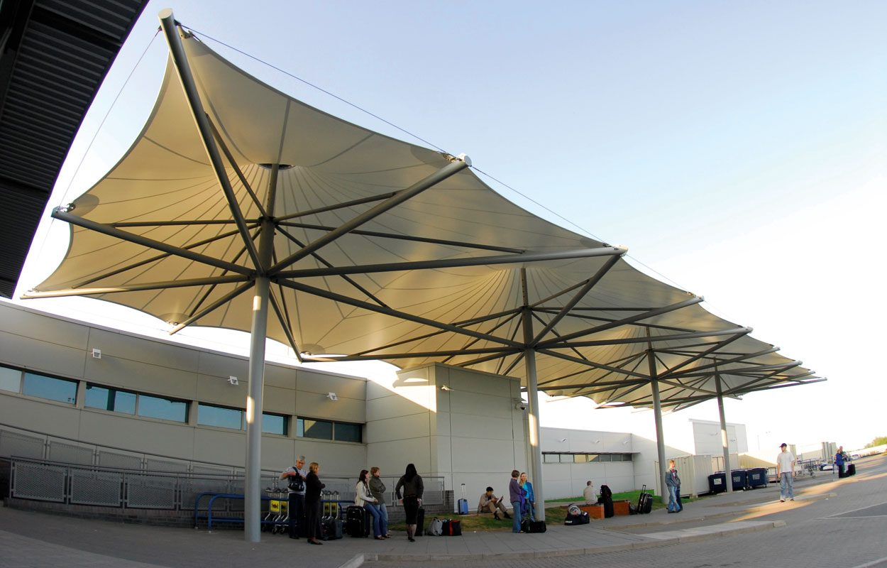East Midlands Airport tensile fabric canopy by Fordingbridge