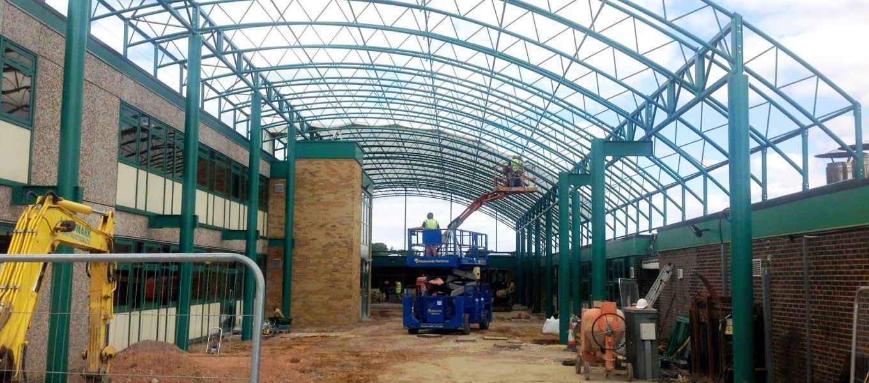 Fordingbridge constructing a school canopy