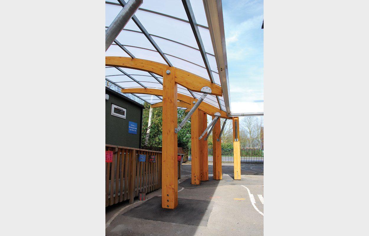 Marlborough Infant School timber canopy by Fordingbridge