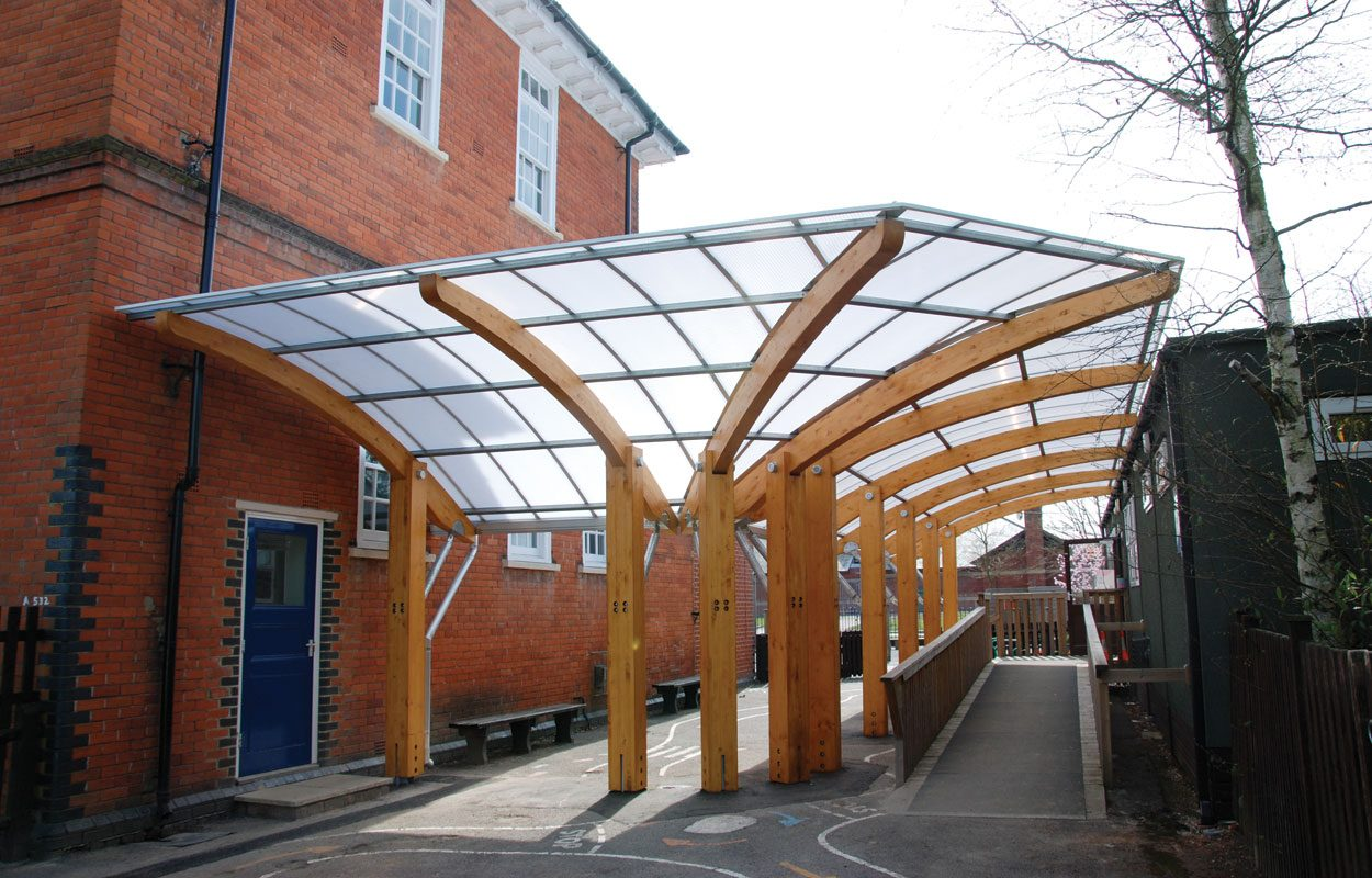 Marlborough Infant School timber canopy by Fordingbridge