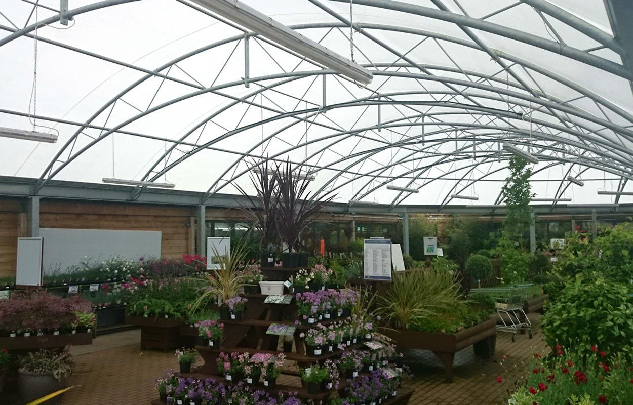 Monkton Elm Garden Centre steel canopy by Fordingbridge