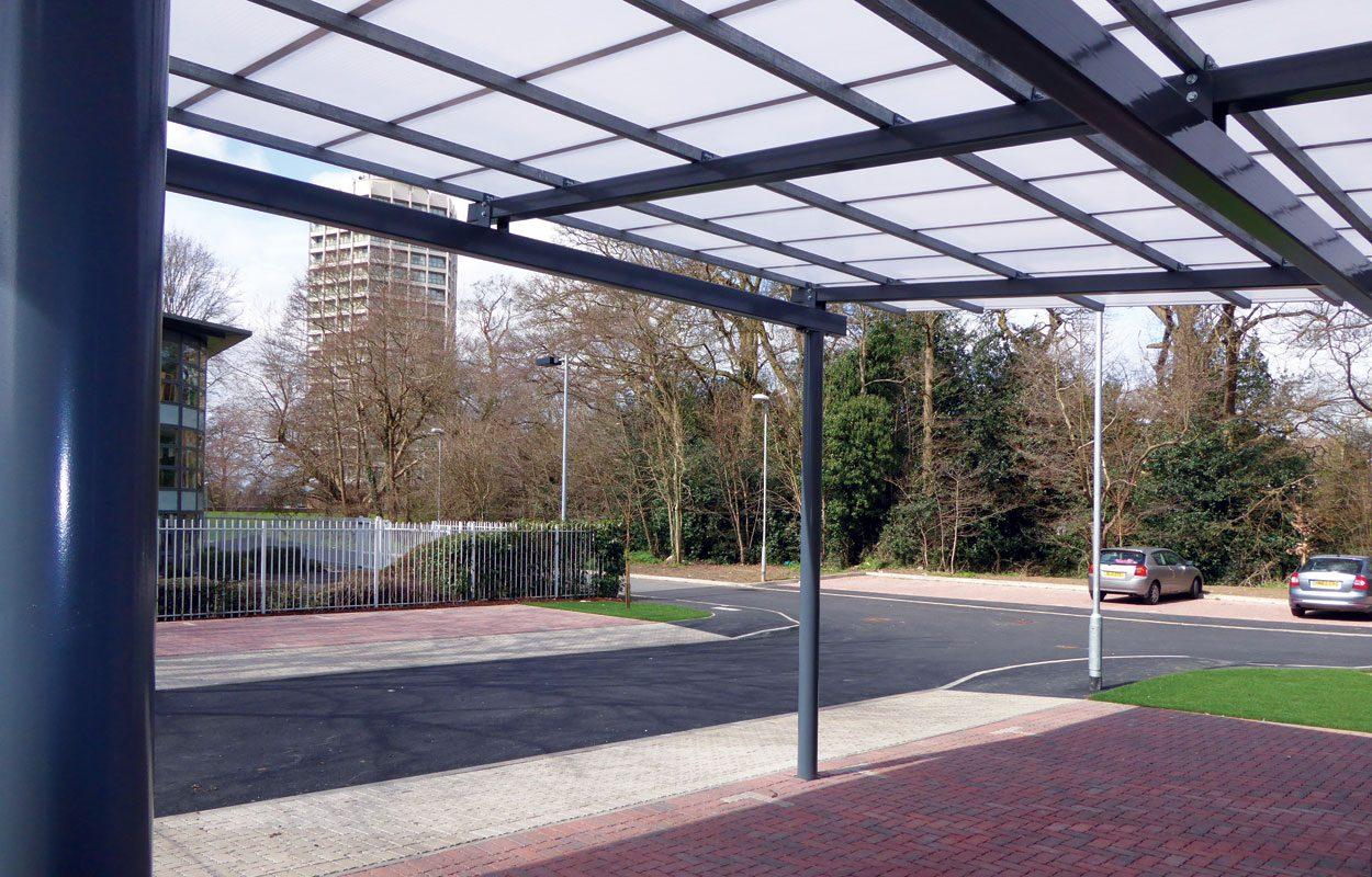 Rainforest Walk flat mono pitch steel canopy by Fordingbridge
