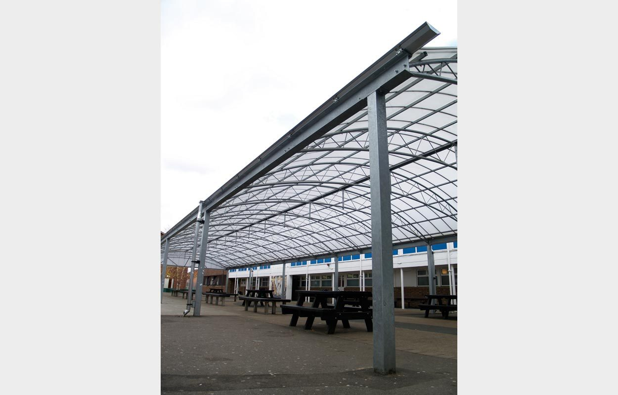 Redhill School steel canopy by Fordingbridge