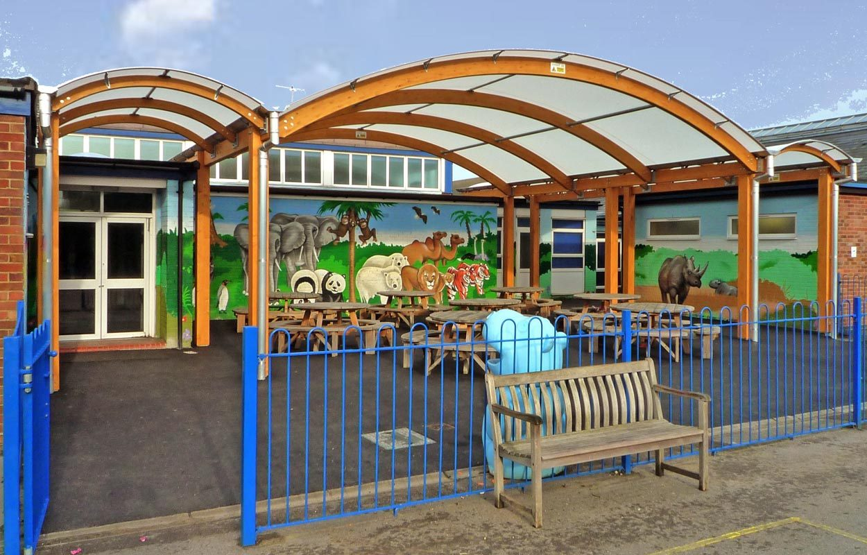 St Georges Infant School timber multi-span canopy Fordingbridge