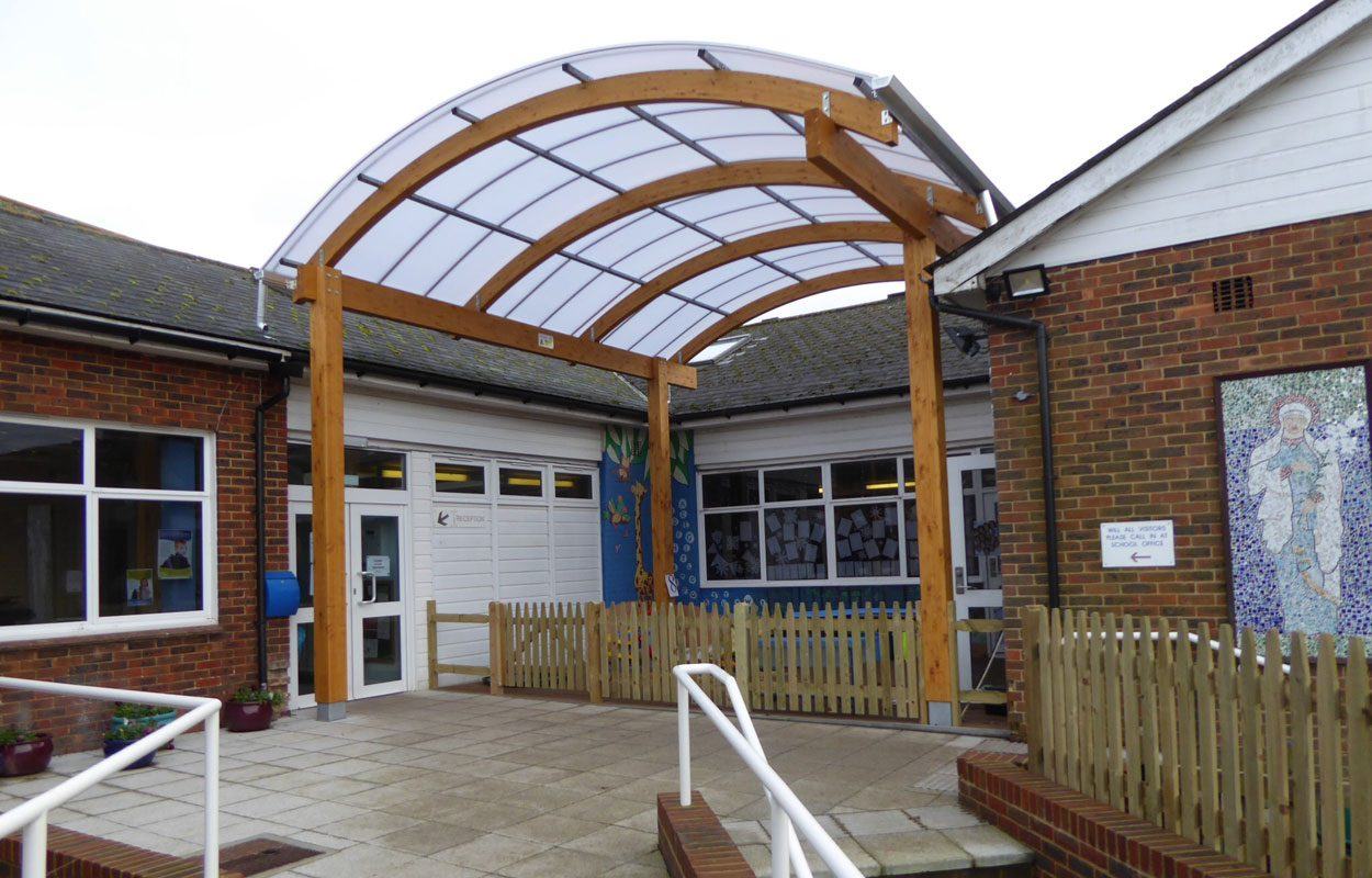 St Mary's Primary School timber canopy by Fordingbridge