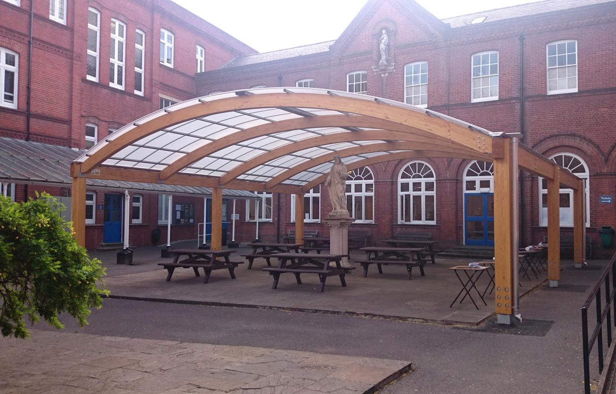 St Philomena's School timber canopy by Fordingbridge