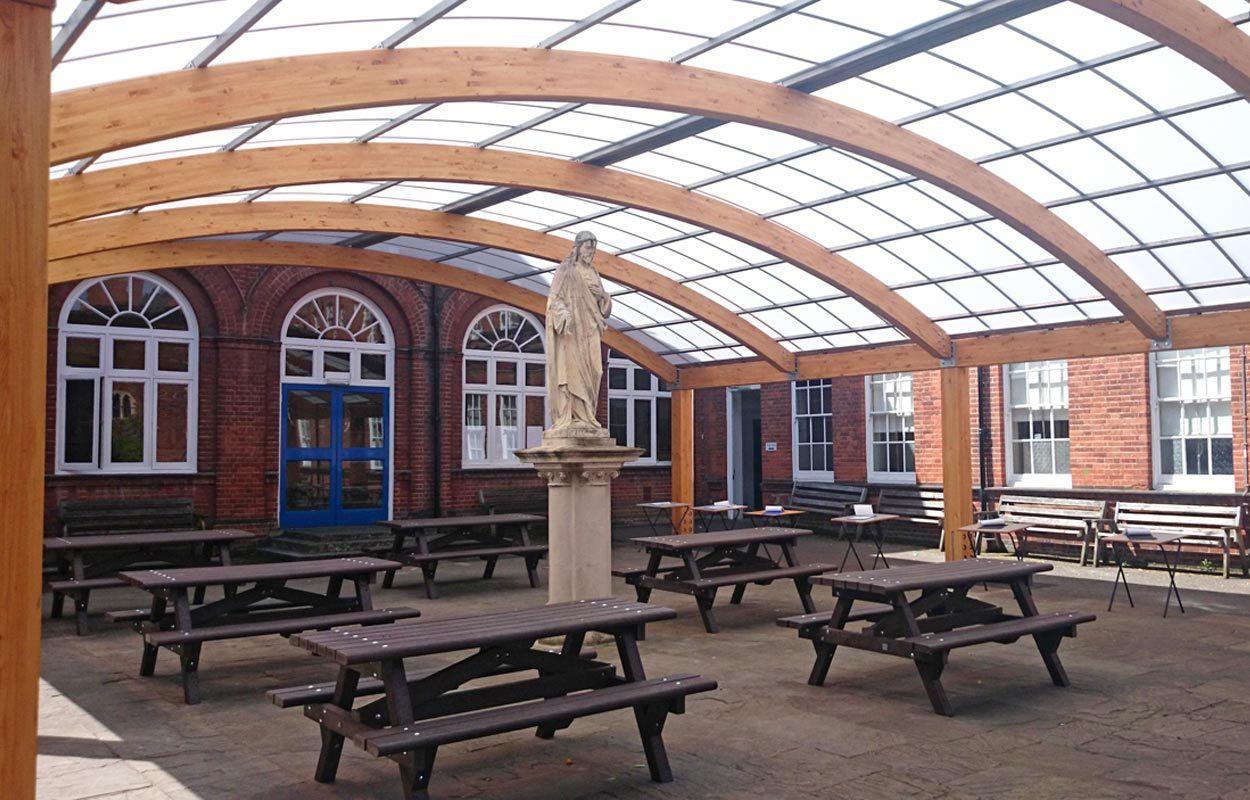 St Philomena's School timber canopy by Fordingbridge