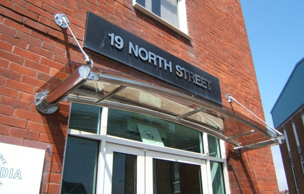 Tates Head Office stainless steel entrance canopy