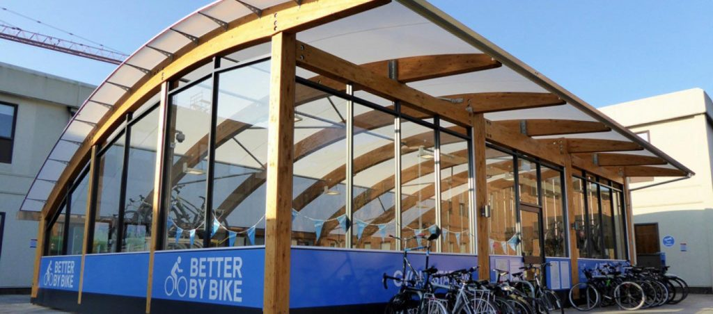 Timber cycle shelter by Fordingbridge