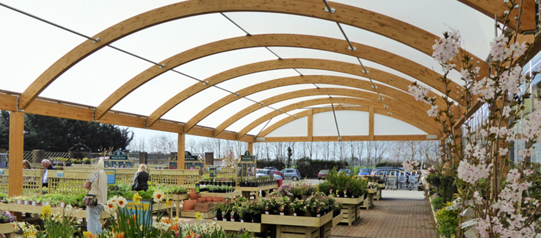 Garden centre canopy at Hillier Bosham