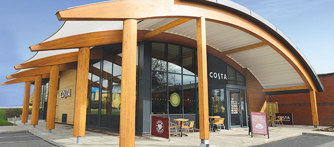 Timber framed Costa Coffee building Fordingbridge