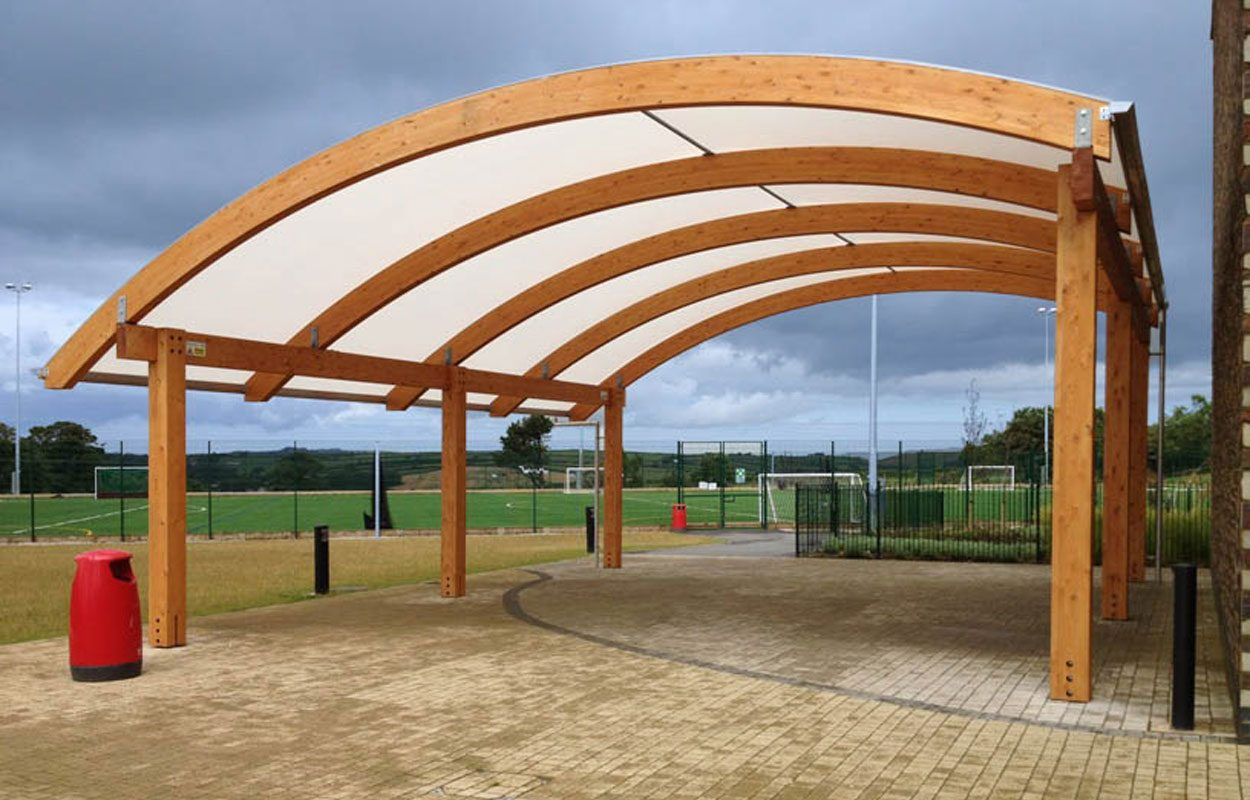 Brannel School timber playground canopy by Fordingbridge