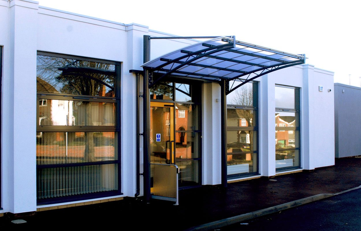 Brettel Lane Day Centre entrance canopy by Fordingbridge