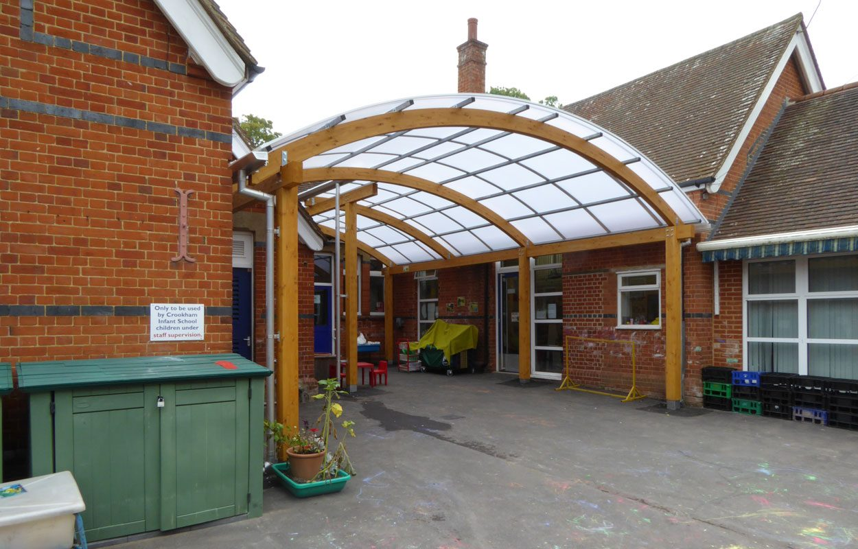 Crookham Infant School timber canopy by Fordingbridge