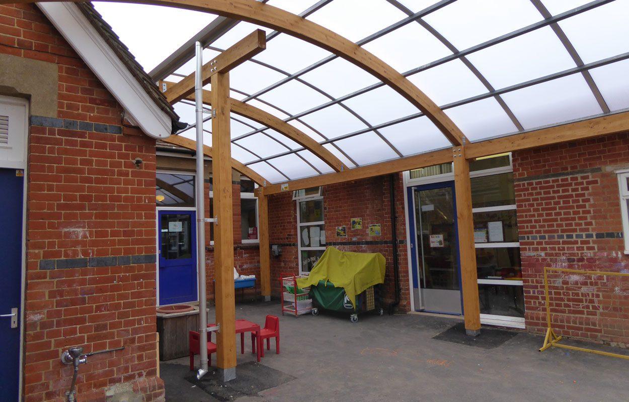 Crookham Infant School timber canopy by Fordingbridge