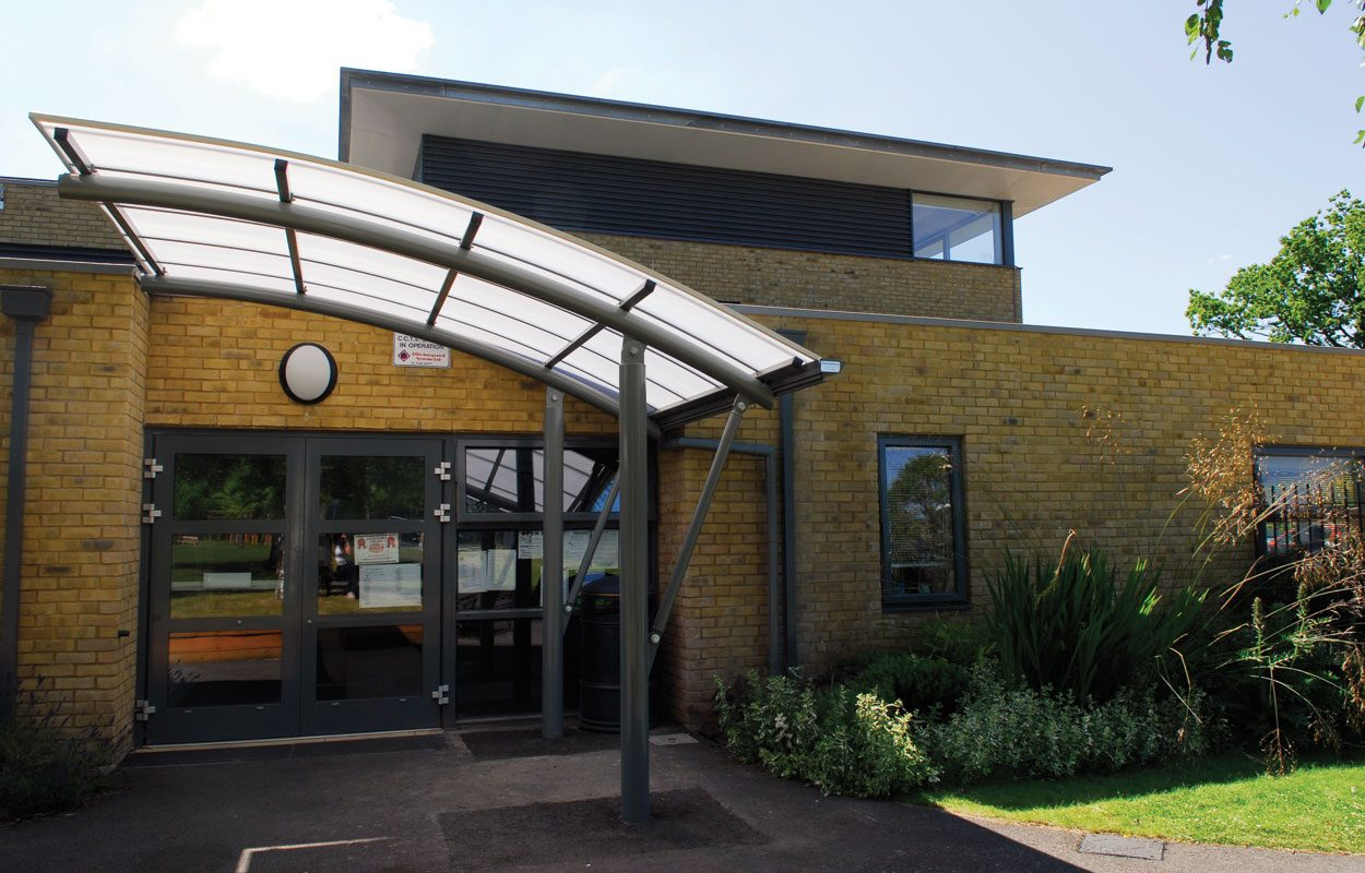 Hollywater School steel cantilever entrance canopy by Fordingbridge