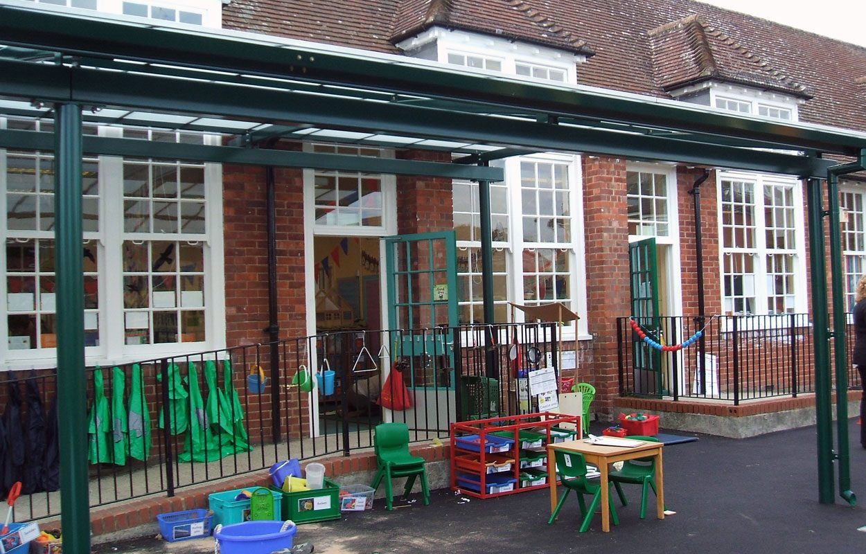 Lydlynch School steel playground canopies by Fordingbridge