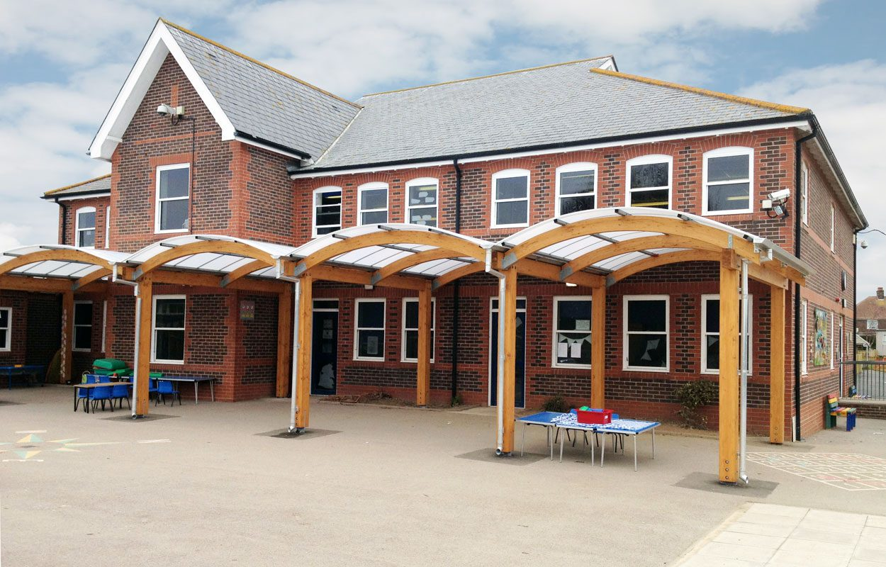 Riverbeach Primary School timber canopy by Fordingbridge