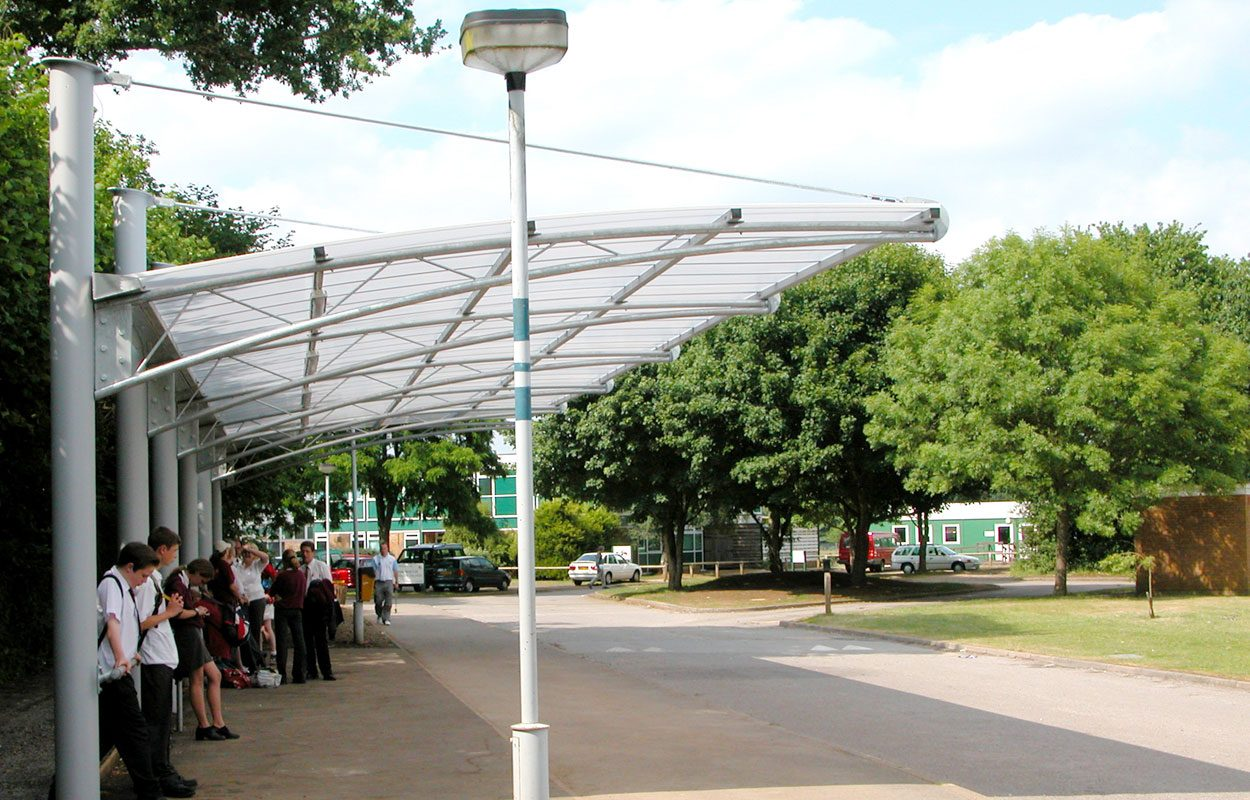Rodborough School bus shelter steel canopy by Fordingbridge