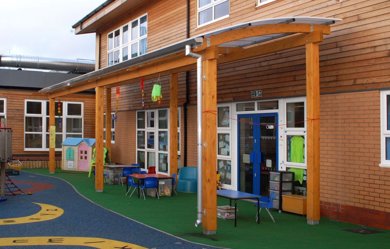 Rowley Hall Primary School bespoke playground canopies by Fordingbridge