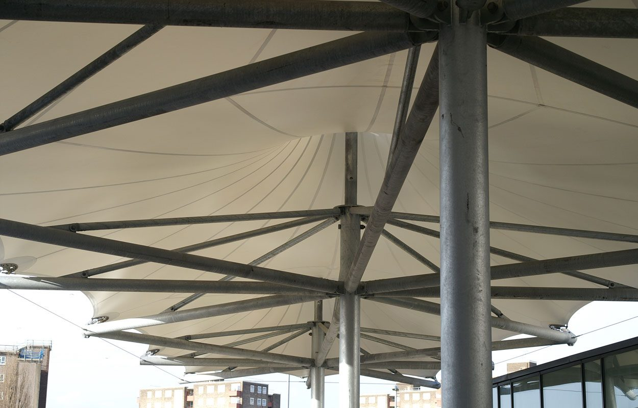 Shakespeare and Primrose School multi conic tensile fabric canopy by Fordingbridge