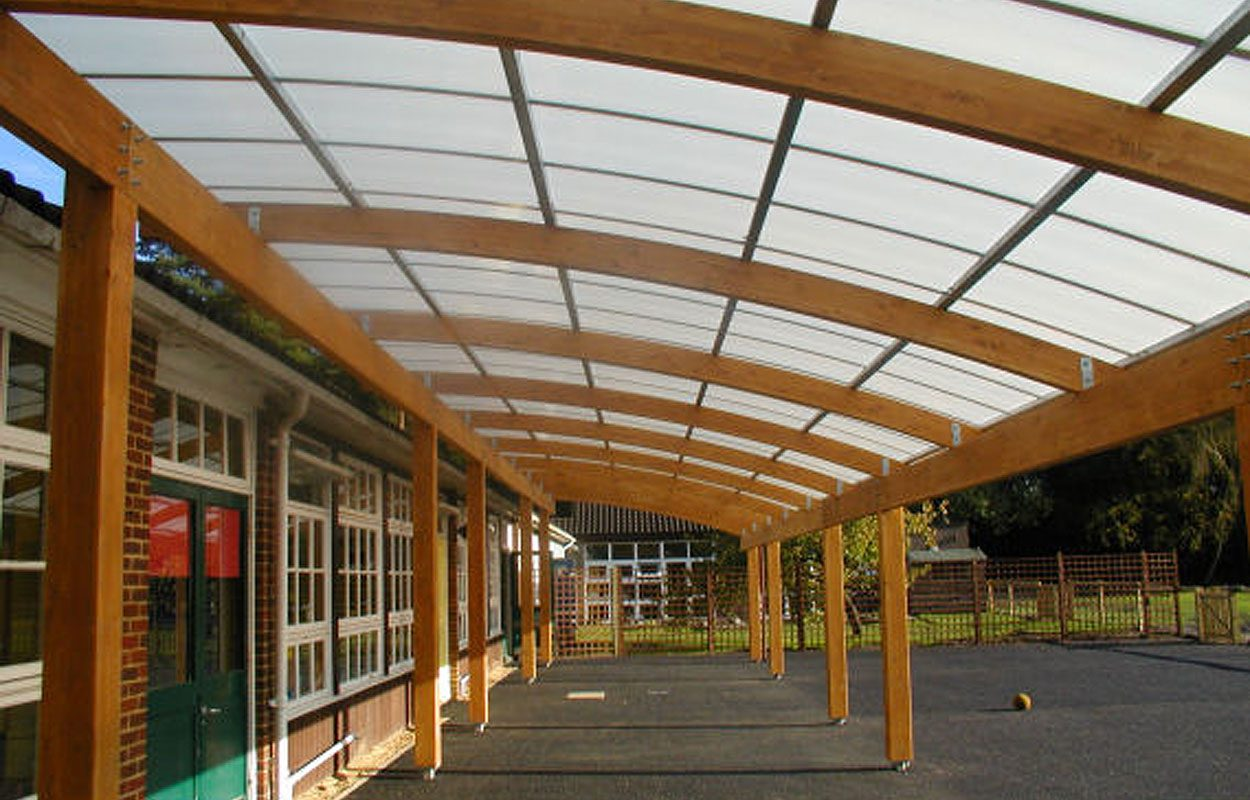 St Matthews Primary School timber playground canopy by Fordingbridge