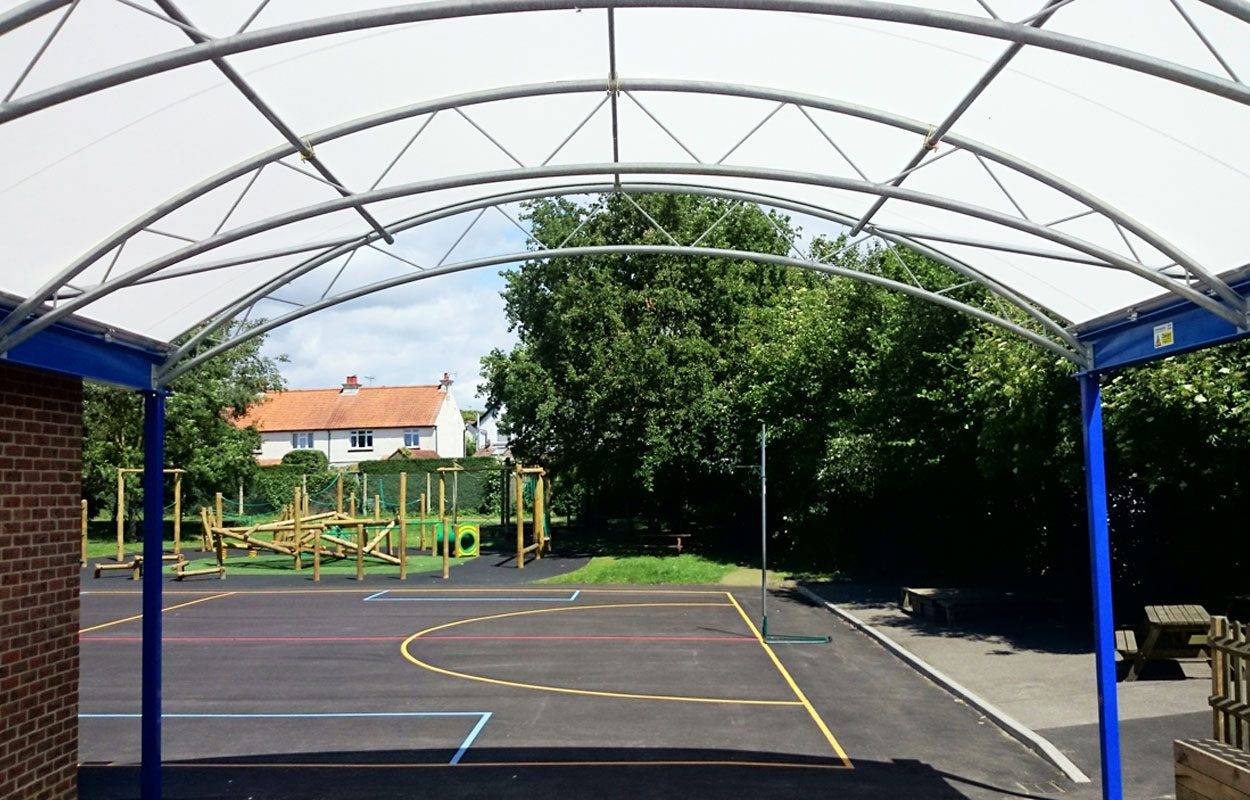 St Richards Primary School steel playground canopy by Fordingbridge