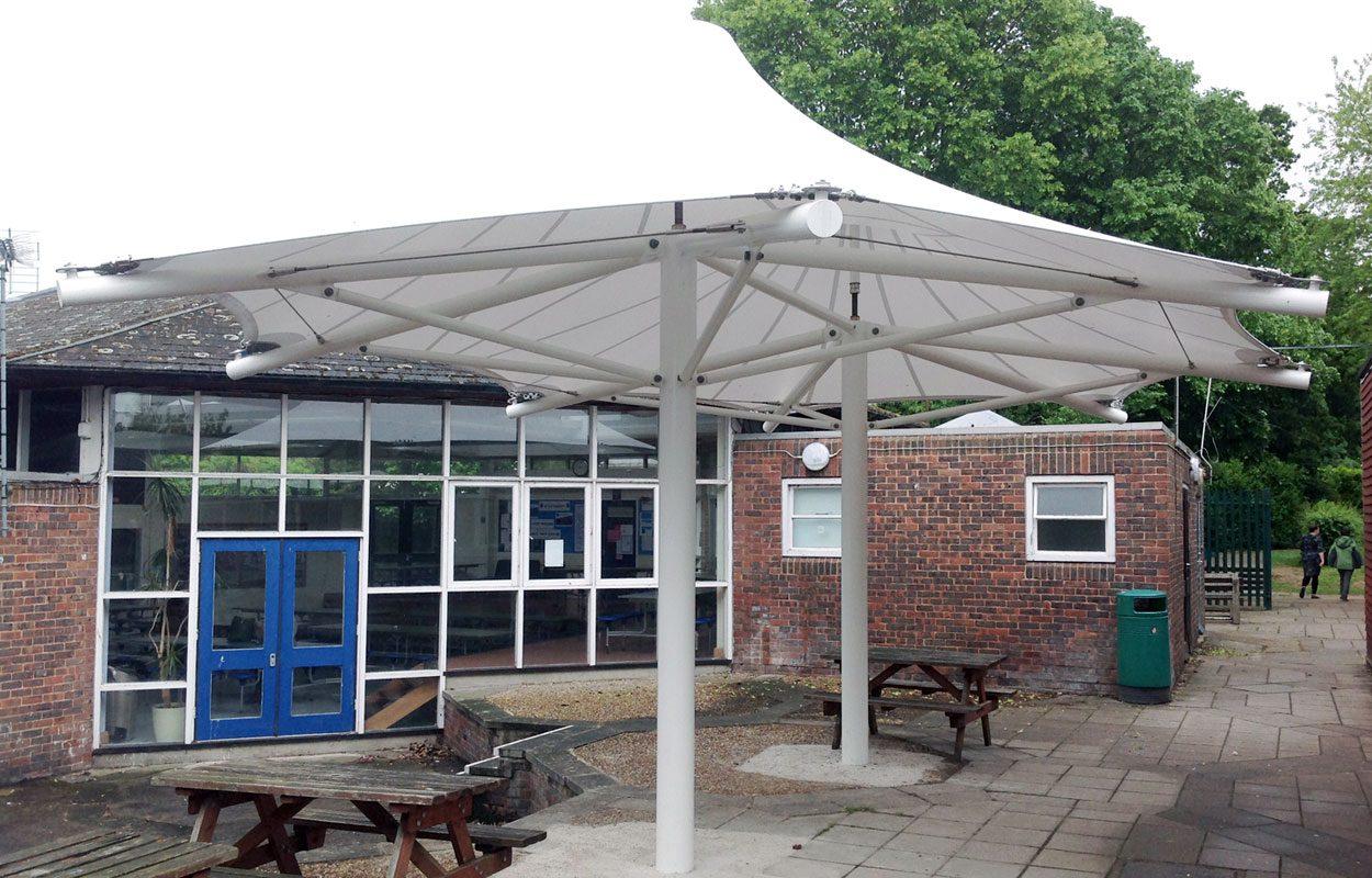 Steyning Grammar School predesigned tensile fabric canopy by Fordingbridge