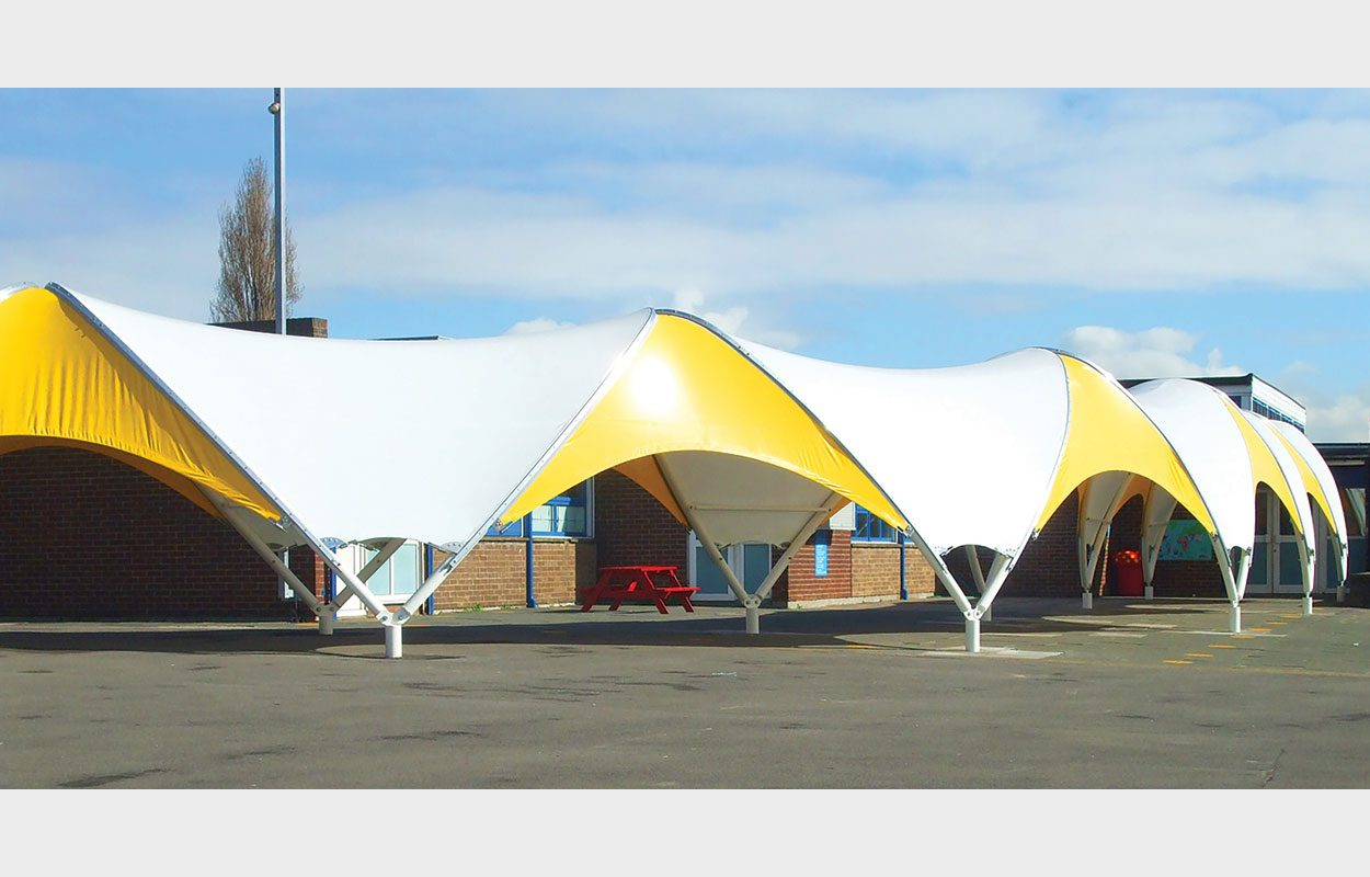 Thames View Junior School bespoke caterpillar canopy by Fordingbridge