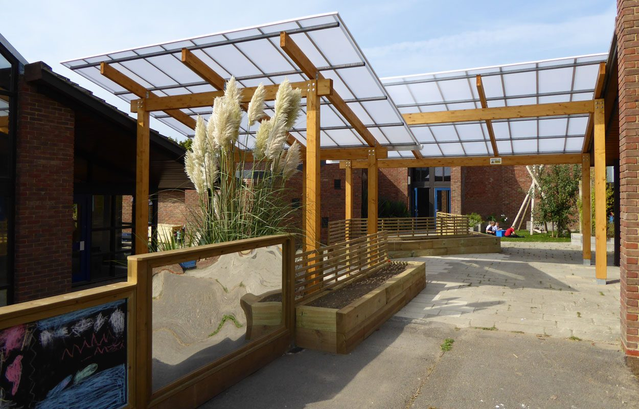 Trosnant Junior School timber canopies by Fordingbridge