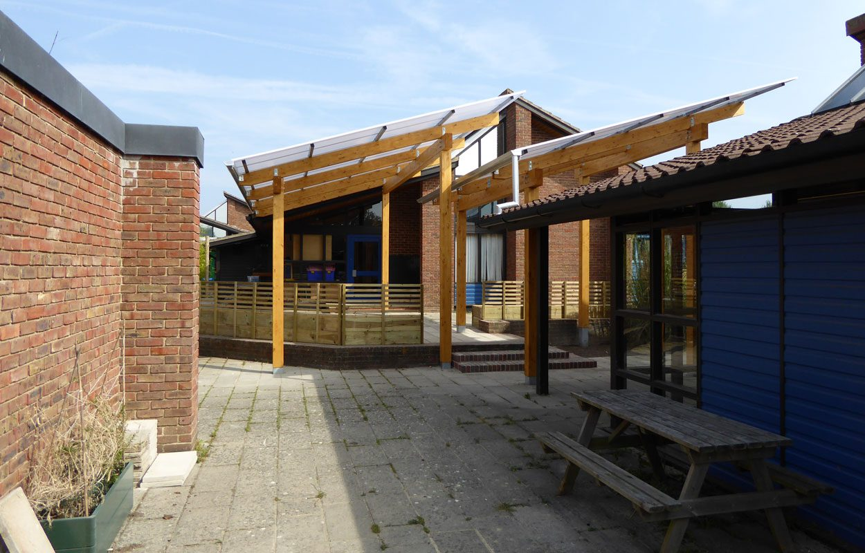 Trosnant Junior School timber canopies by Fordingbridge