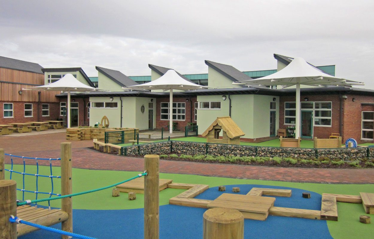 Vickerstown Primary School pre-designed tensile structures by Fordingbridge