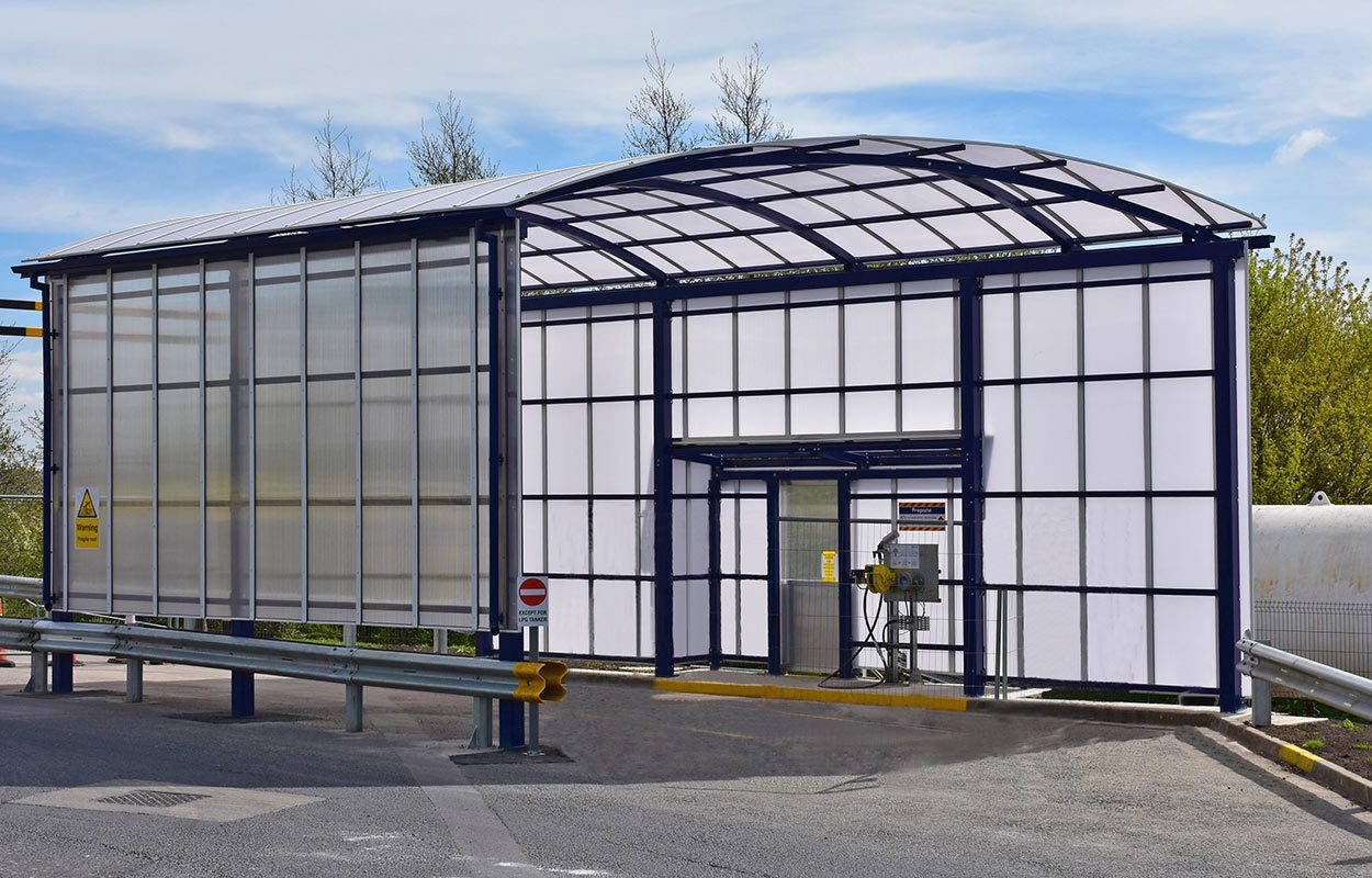 Fordingbridge LPG Refueling steel and polycarbonate canopy