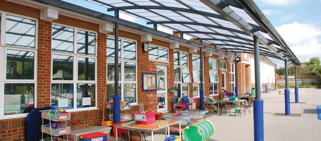 Durrington First School Mono pitch steel canopy Fordingbridge