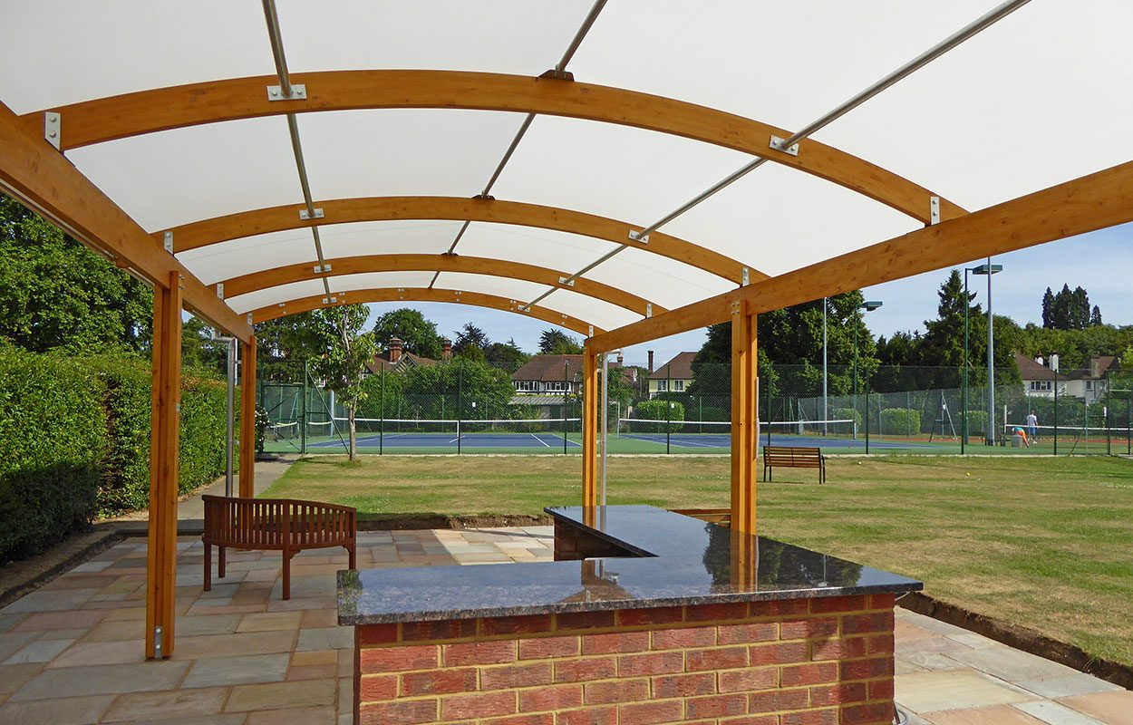 Fordingbridge Timber barrel vault canopy at Epsom Tennis club