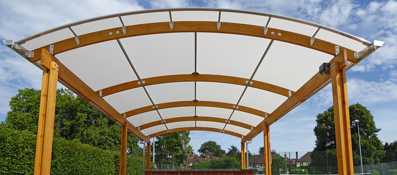 Epsom Tennis Club Fordingbridge timber barrel vault canopy