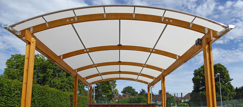 Epsom Tennis Club Fordingbridge timber barrel vault canopy