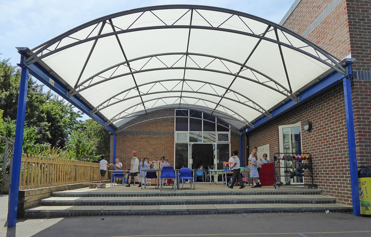 St Richards School steel barrel vault canopy