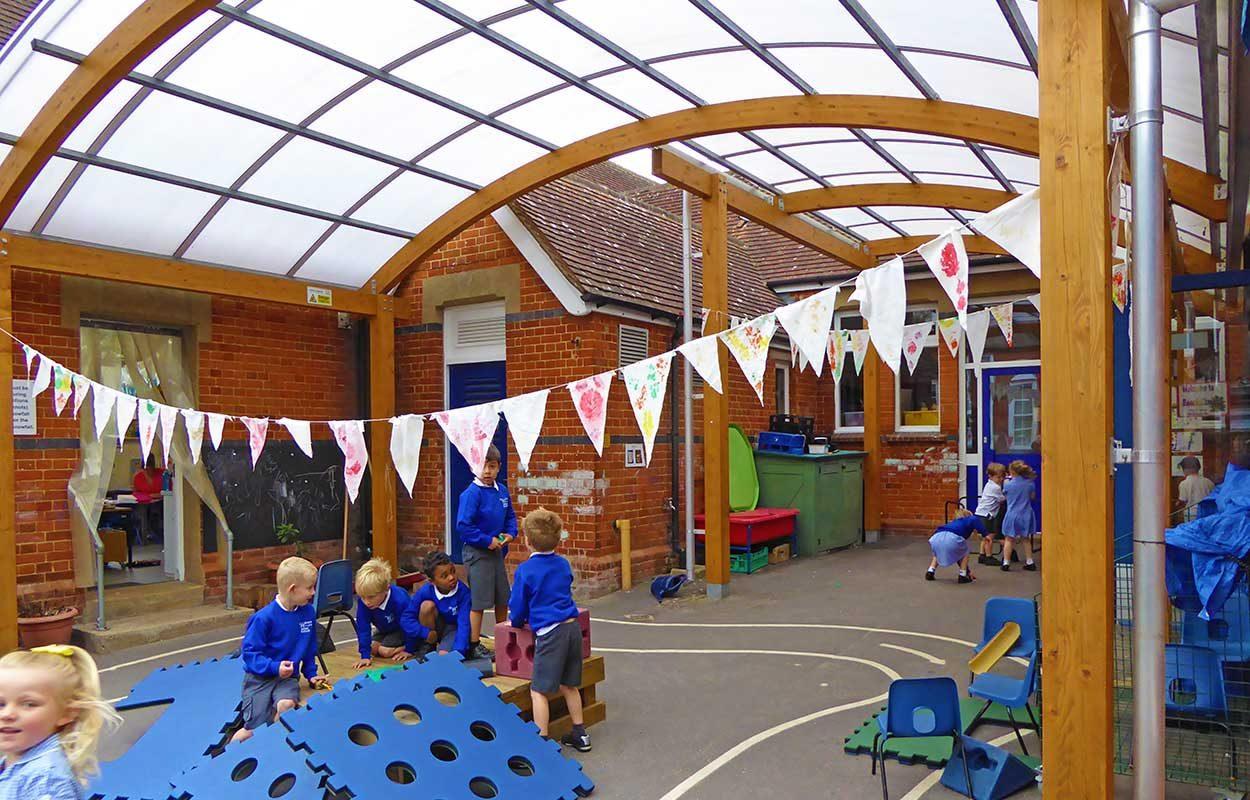 Fordingbridge-barrel-vault-canopy-Crookham-School