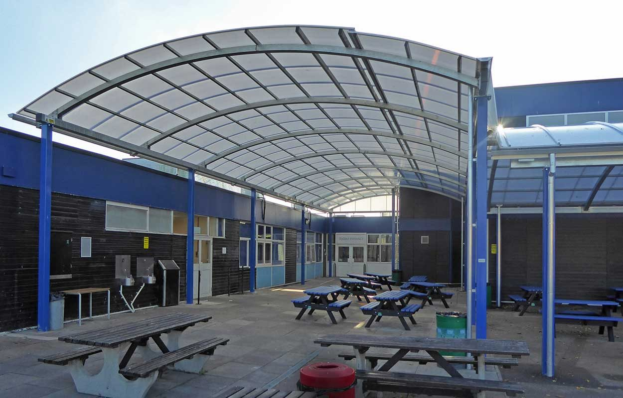 Notley High School Fordingbridge barrel vault steel canopy