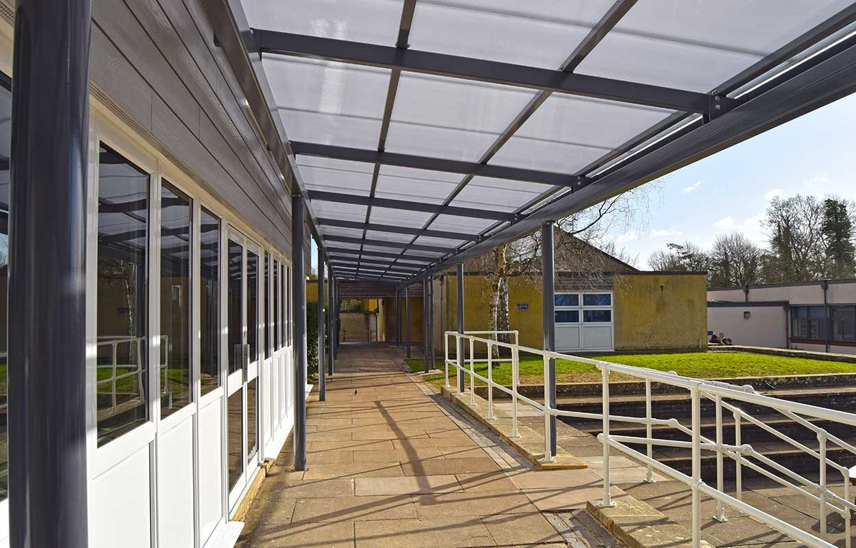 Burford School Fordingbridge mono-pitch walkway