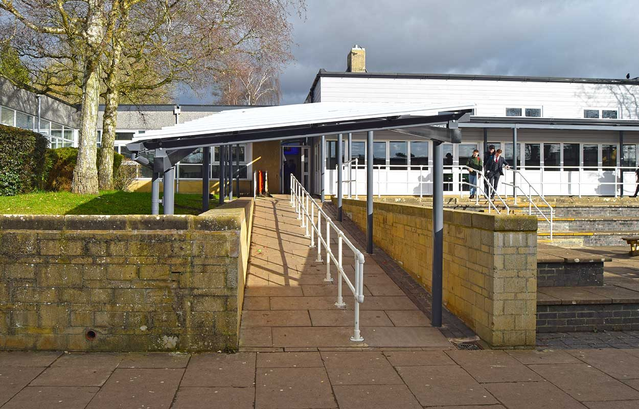 Burford School Fordingbridge mono-pitch walkway