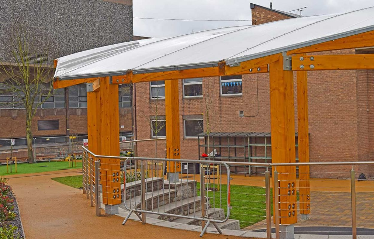Nottingham High School mono pitched timber Fordingbridge canopy