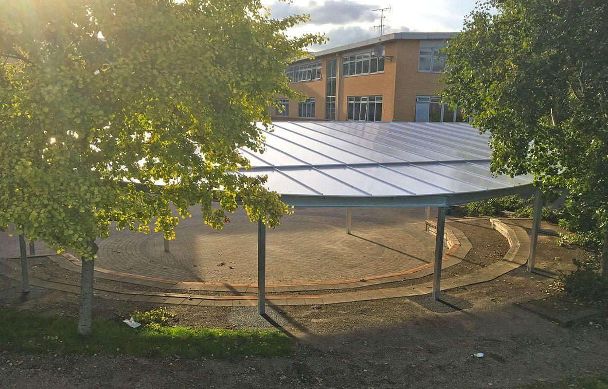 Cumberland school Fordingbridge steel amphitheatre