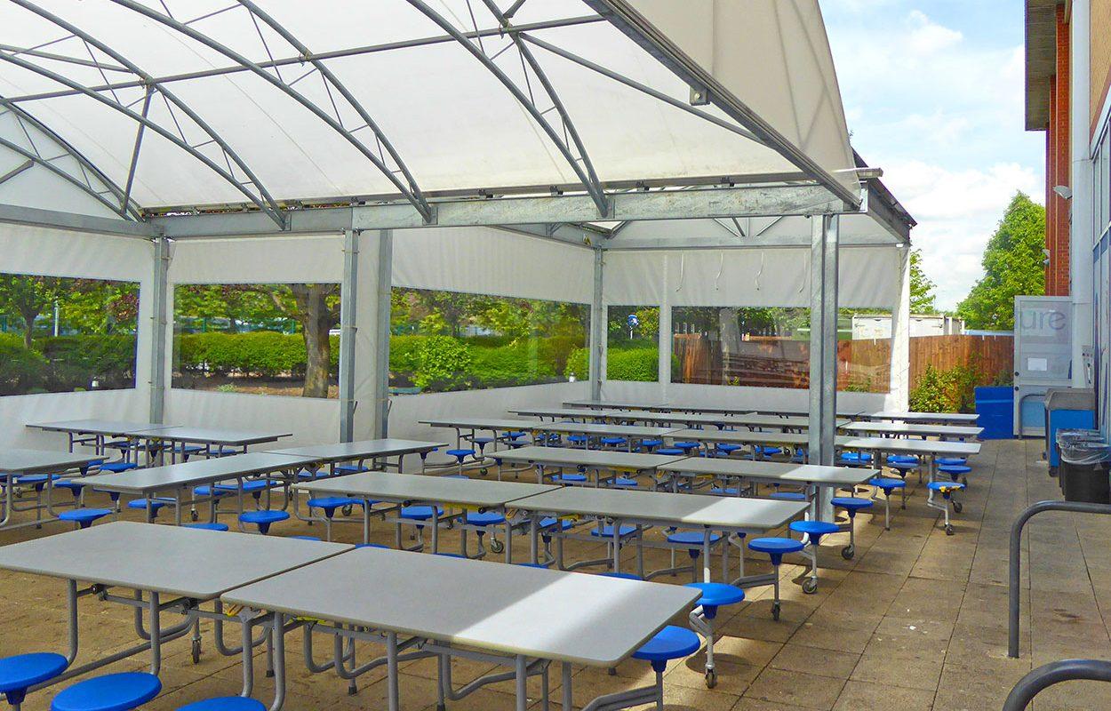 Cumberland school Fordingbridge outdoor dining canopy