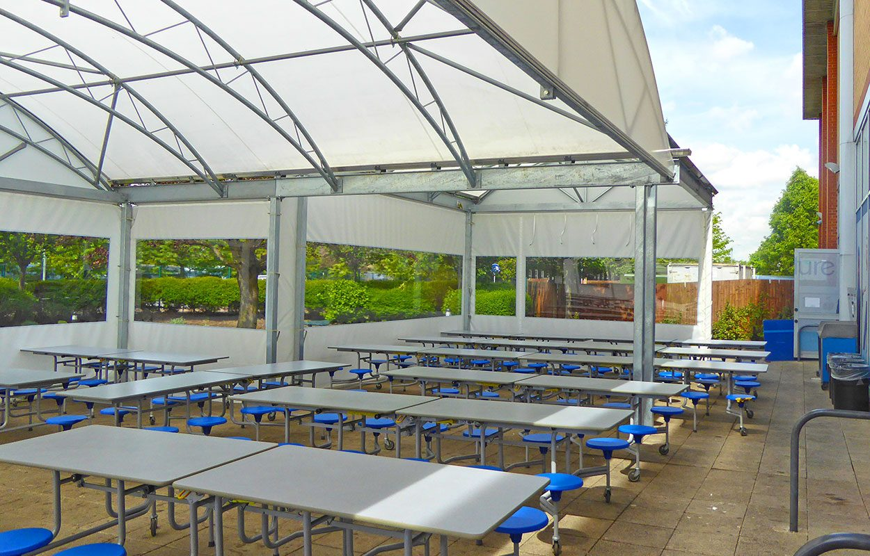 Cumberland school Fordingbridge outdoor dining canopy