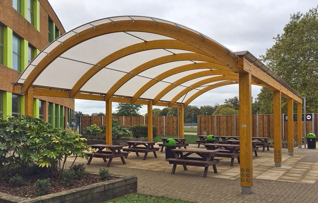 City Academy Norwich Fordingbridge barrel vaulted timber canopy